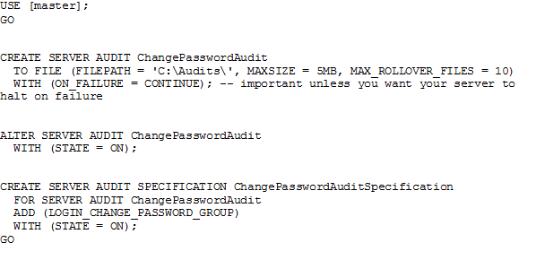 Create SQL Server Audit